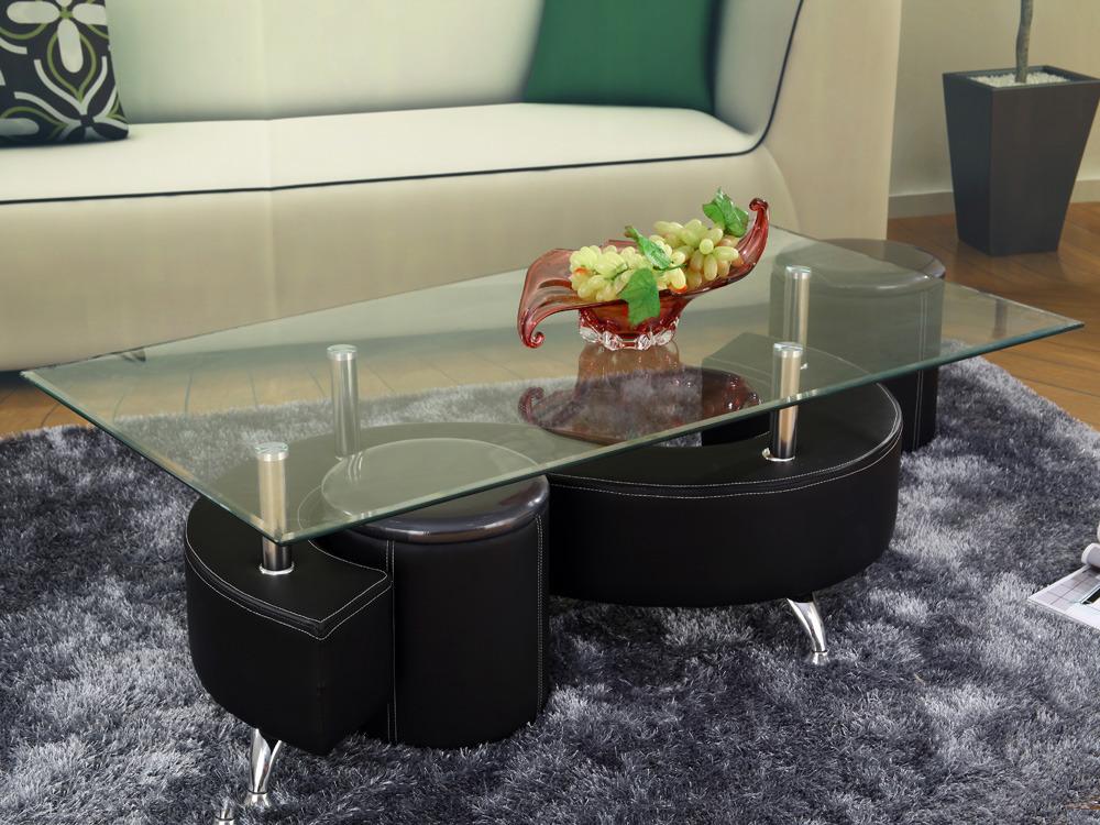 Table basse design en verre alicia noir structure laqu - Table basse noir en verre ...
