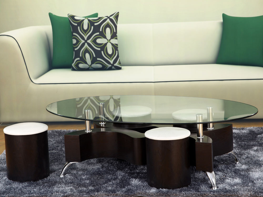 Table basse ovale en verre alina 4 poufs 58455 - Table basse ovale en verre ...