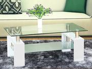 Table basse rectangulaire en verre  Camillia  MDF laqué Blanc