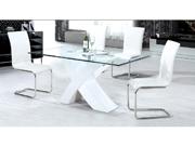 Table repas  Mona  en verre rectangulaire - 150 x 90 x 75 cm - Blanc
