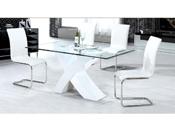 """Table repas """"Mona"""" en verre rectangulaire - 150 x 90 x 75 cm - Blanc"""