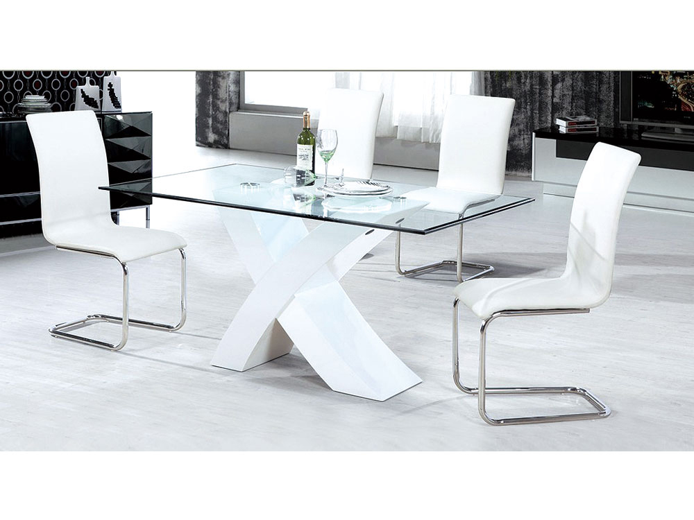 Table repas mona 200 x 90 x 75 cm blanc 65206 68052 for Pieds de table 90 cm