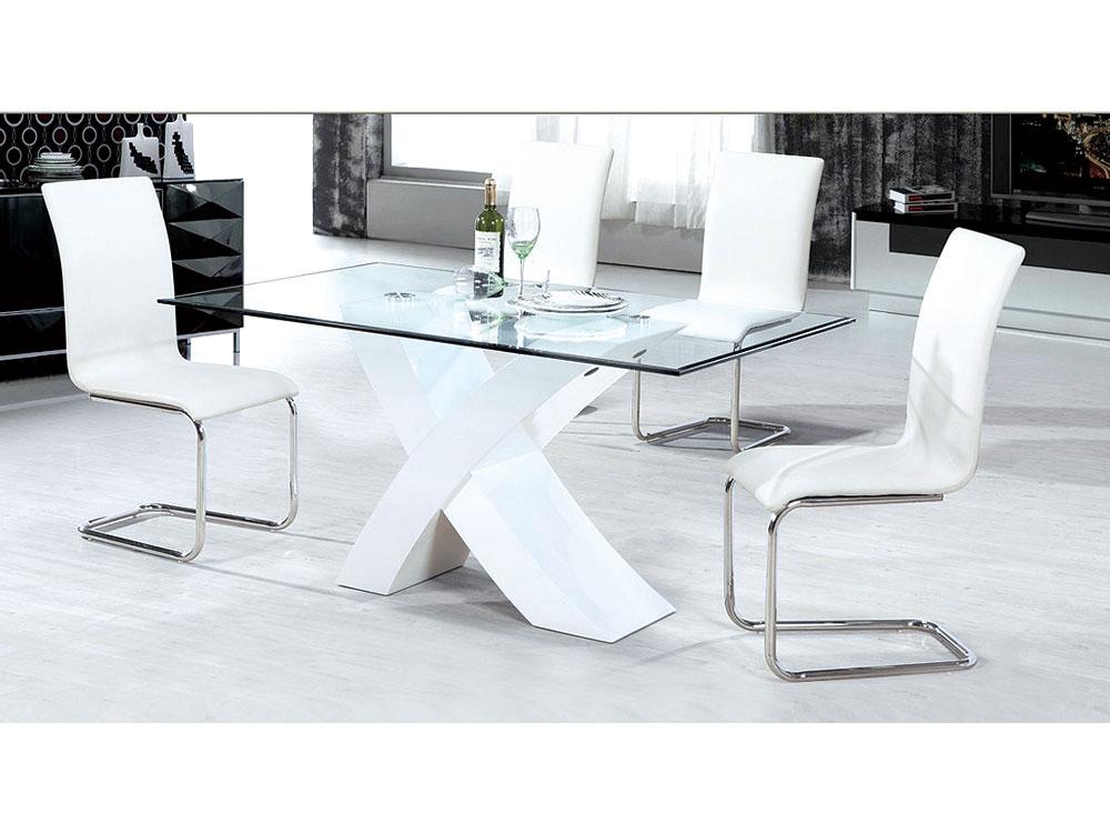 Table repas mona 150 x 90 x 75 cm blanc 65206 65208 - Table en verre pied central ...