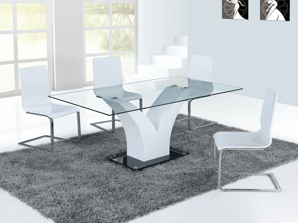 table repas dina en verre rectangulaire 65209. Black Bedroom Furniture Sets. Home Design Ideas