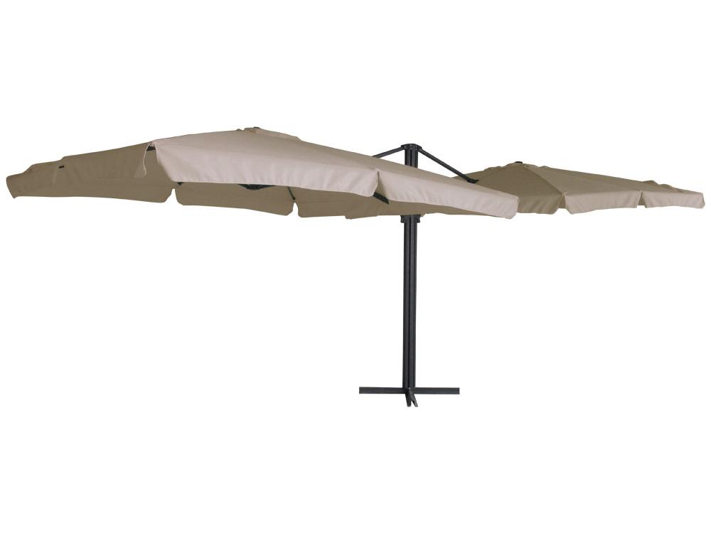 Parasol jardin d port double carr aluminium 3 x 3 - Soldes parasols jardin ...