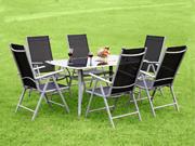 """Salon jardin """"Phoenix Confort"""" en aluminium et textil�ne noir - une table + 6 chaises pliables"""