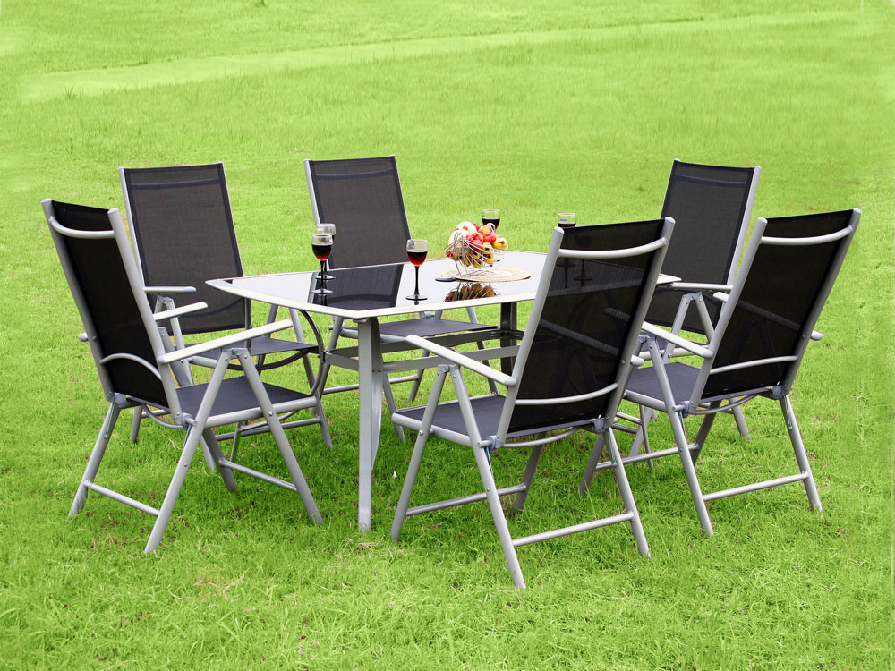 Salon de jardin aluminium 6 chaises table for Table et chaise resine tressee pas cher