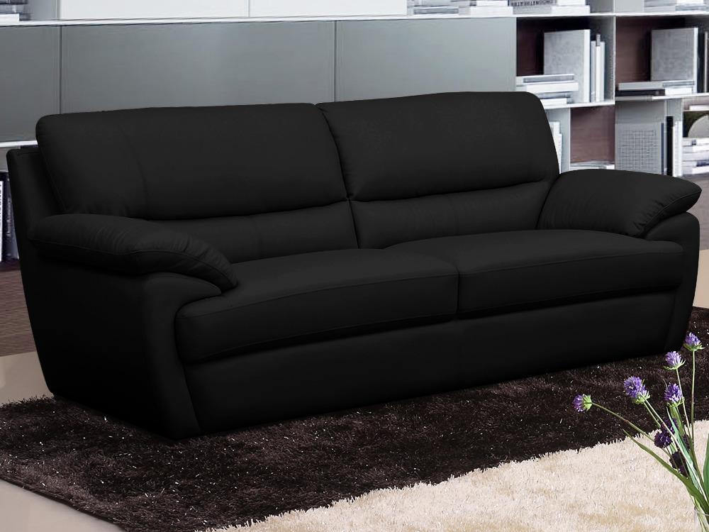 Canap cuir venise 3 places noir 58382 58400 for Protection canape cuir