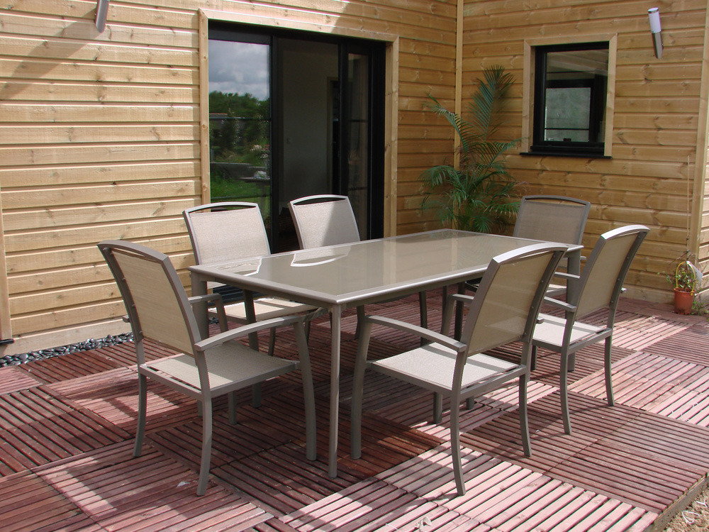 table de jardin 6 fauteuils aluminium et verre 200 x 110 x 75cm 61759. Black Bedroom Furniture Sets. Home Design Ideas