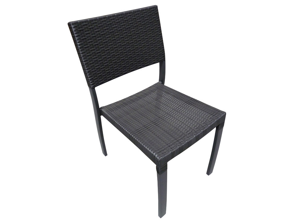 Chaise jardin r sine tress e gris anthracite noir 61769 for Chaise jardin gris anthracite