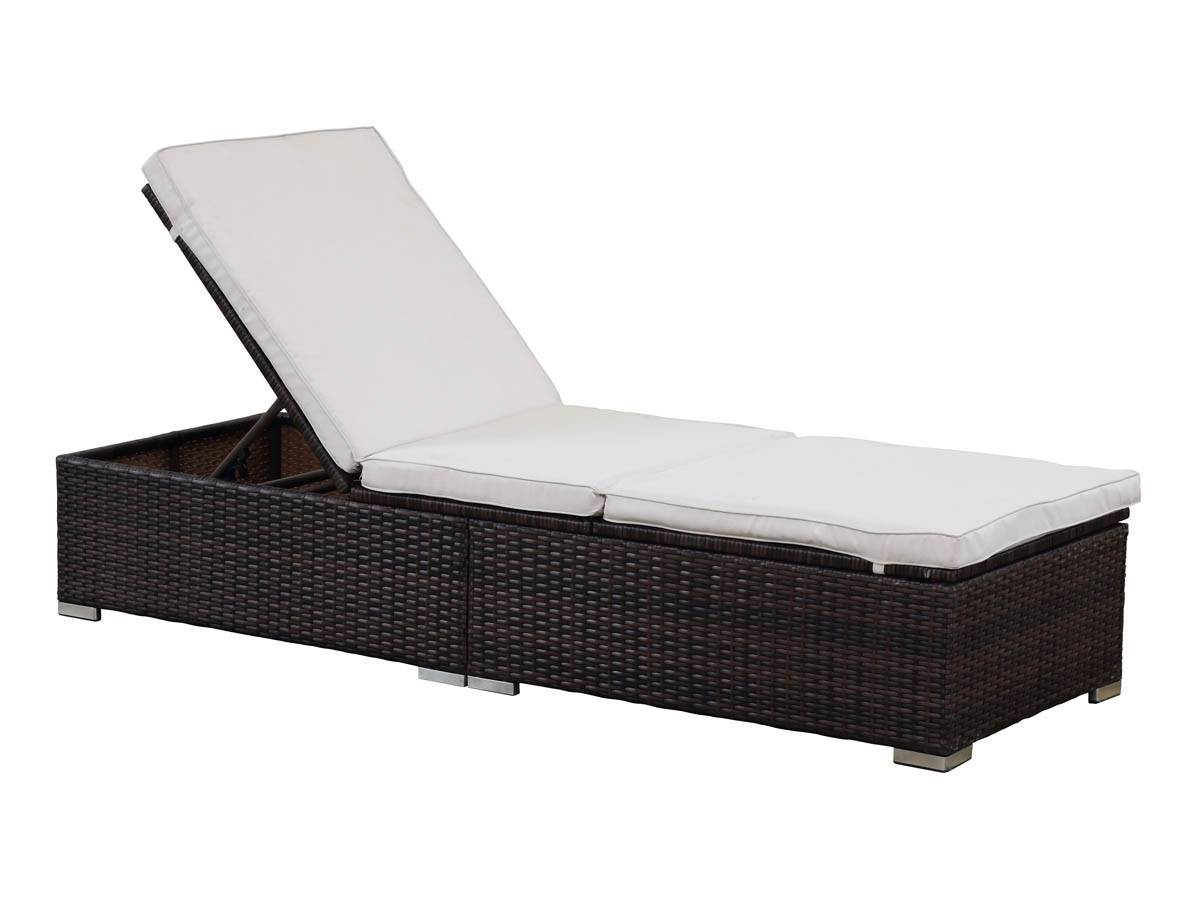 Bain de soleil en r sine tress e bali buffalo marron for Chaise longue en resine