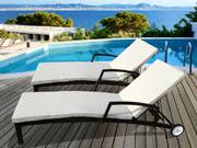 Lot de 2 bains de soleil en résine tressée Playa -  Buffalo - Marron - Coussin inclu