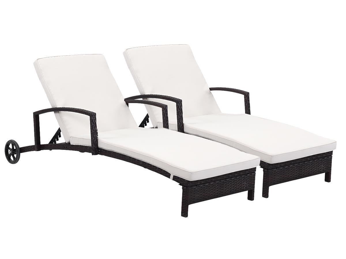 Lot de 2 bains de soleil en résine tressée Playa - Buffalo- Marron - Coussin inclu
