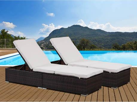 """2 bains de soleil coffre en résine tressée Bali - """"Buffalo"""" - Marron"""