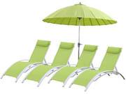 Bain de soleil en aluminium Beauty -  Phoenix  - Vert + Parasol jardin droit en aluminium  Lili - Ø2.7m - Vert