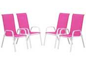 "Fauteuil jardin Textilène ""Cordoba"" - Phoenix - Rose - Lot de 4"