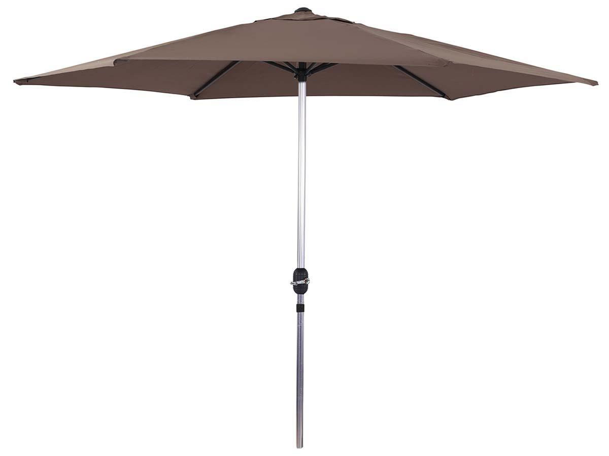 Parasol jardin droit Alu Sol - Rond - Ø 3m - Taupe