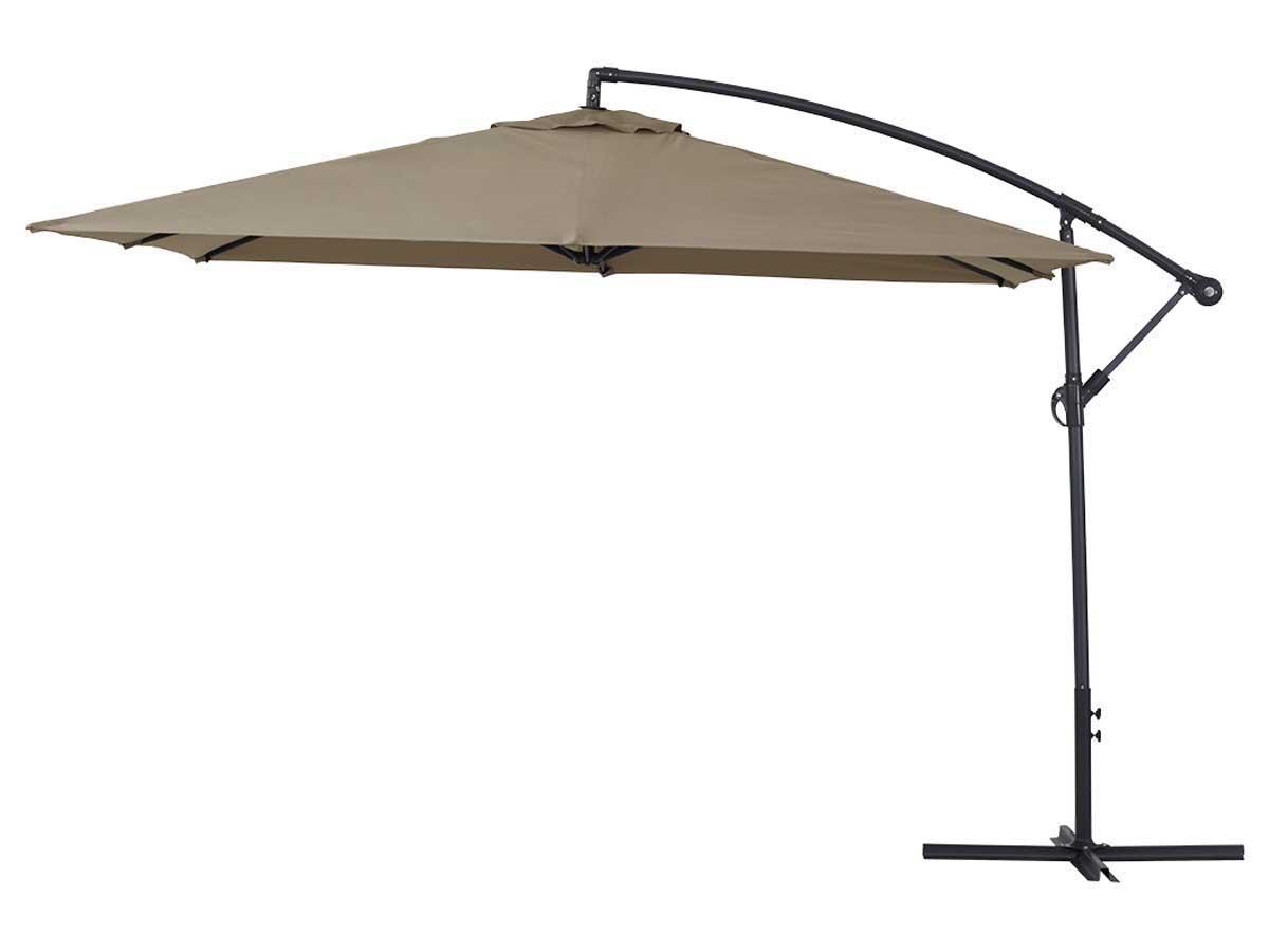 Parasol jardin déporté Alu Ilios 3 - Carré - 3 x3 m - Taupe
