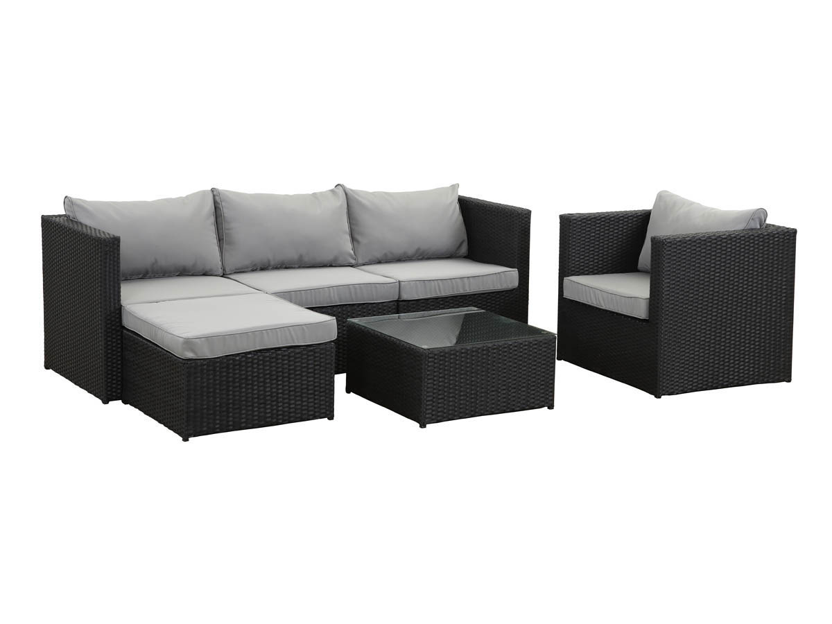 salon de jardin r sine tress e ibiza atlanta noir acier 62185 65489. Black Bedroom Furniture Sets. Home Design Ideas