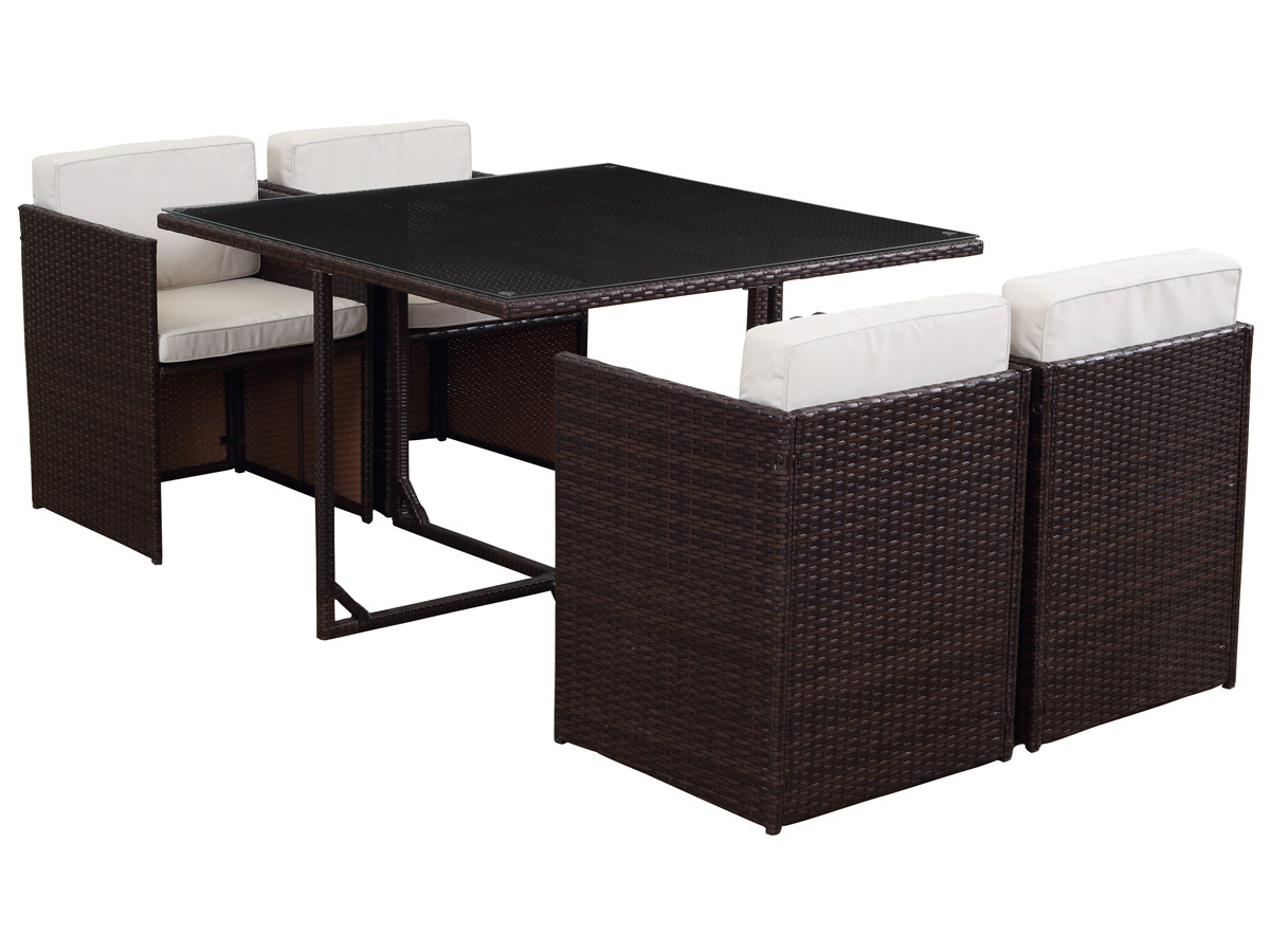 salon de jardin r sine tress e chicago 4 buffalo marron 4 places 60601 65713. Black Bedroom Furniture Sets. Home Design Ideas