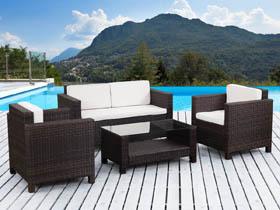 Salon de jardin en résine tressée Ottawa - 1 canapé + 2 fauteuils + 1 table basse