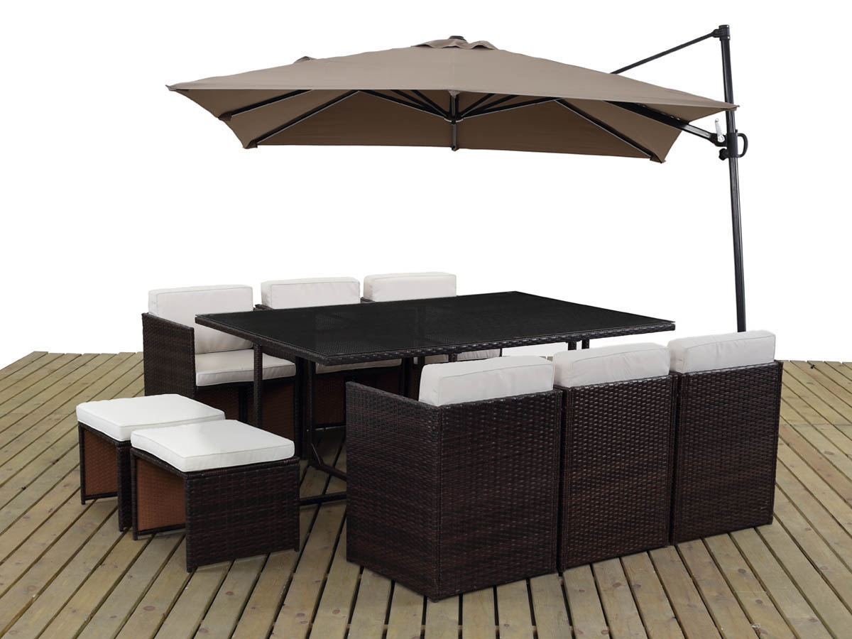 Salon de jardin en r sine tress e chicago 6 buffalo marron parasol jardin d port en - Salon de jardin metal colore ...