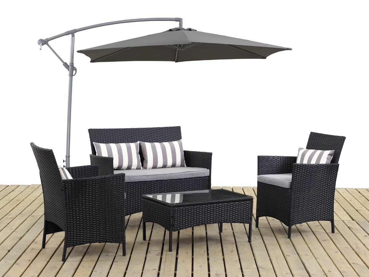 salon de jardin r sine tress e toronto atlanta noir parasol jardin d port en aluminium. Black Bedroom Furniture Sets. Home Design Ideas