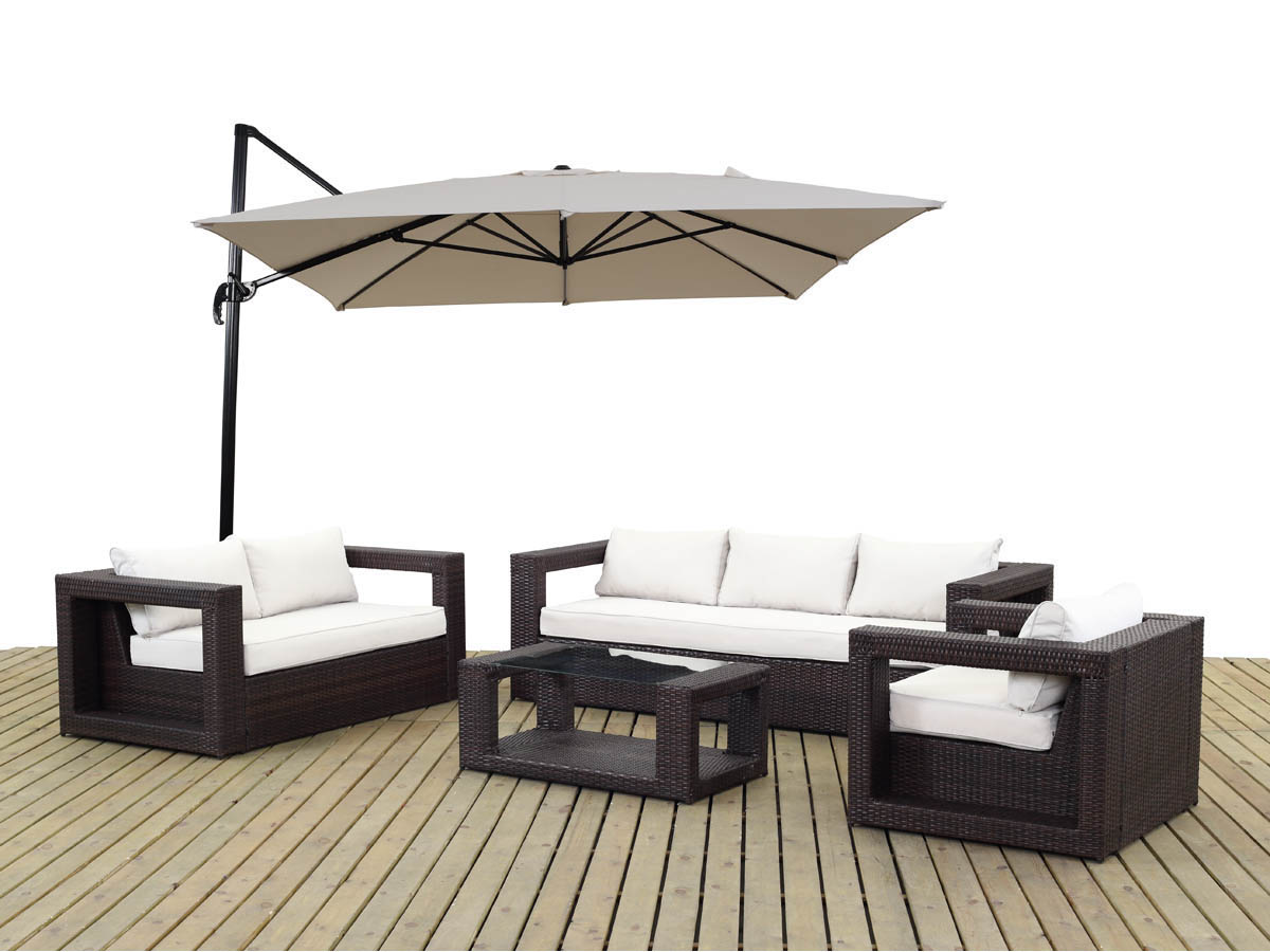 salon de jardin r sine tress e rio buffalo marron. Black Bedroom Furniture Sets. Home Design Ideas