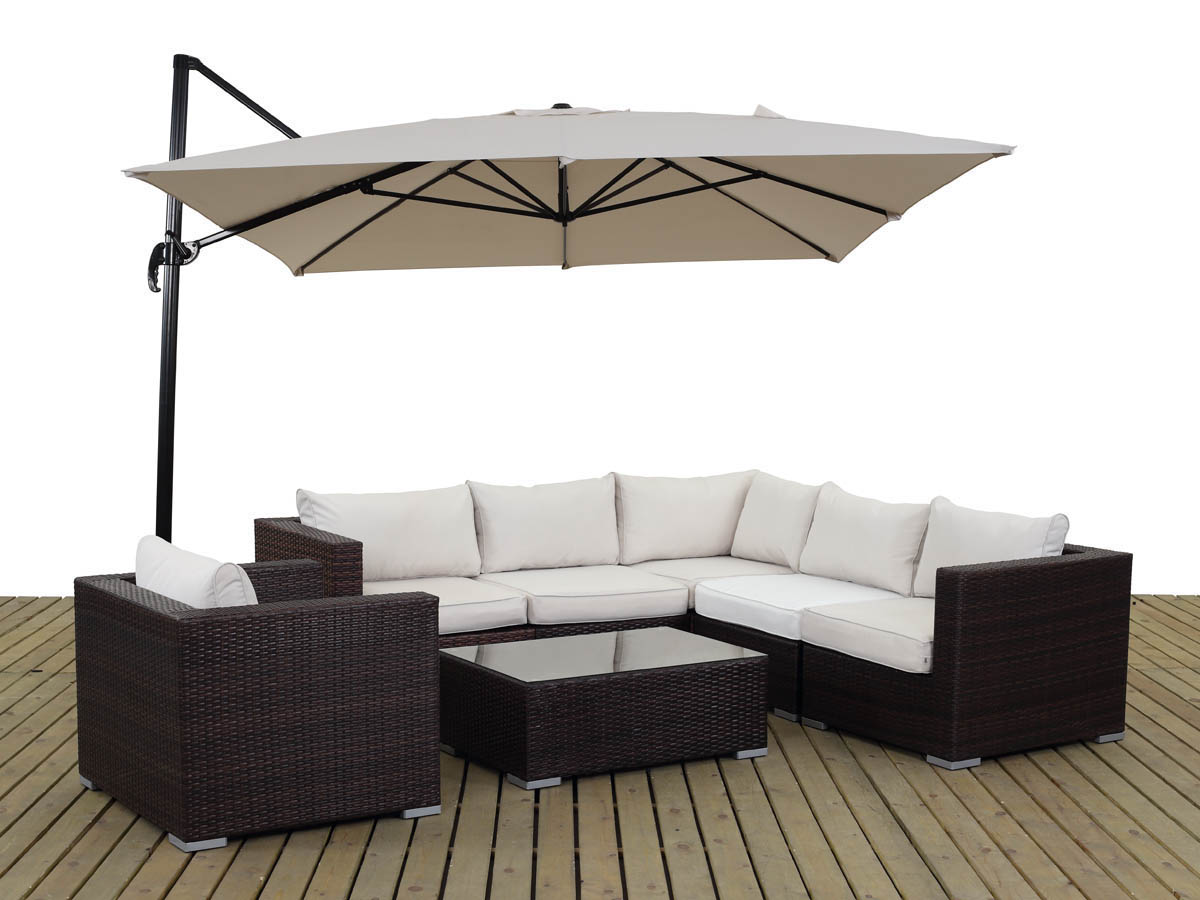 salon de jardin r sine tress e auckland buffalo marron parasol jardin d port en. Black Bedroom Furniture Sets. Home Design Ideas