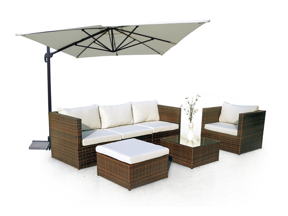 pack ibiza salon de jardin parasol 3 x 4 ecru coussins imperm ables d houssables 66784. Black Bedroom Furniture Sets. Home Design Ideas