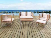 "Salon de jardin en inox Royal - ""Phoenix""- Marron clair - un canap� 2 places + 2 fauteuils + une table basse"
