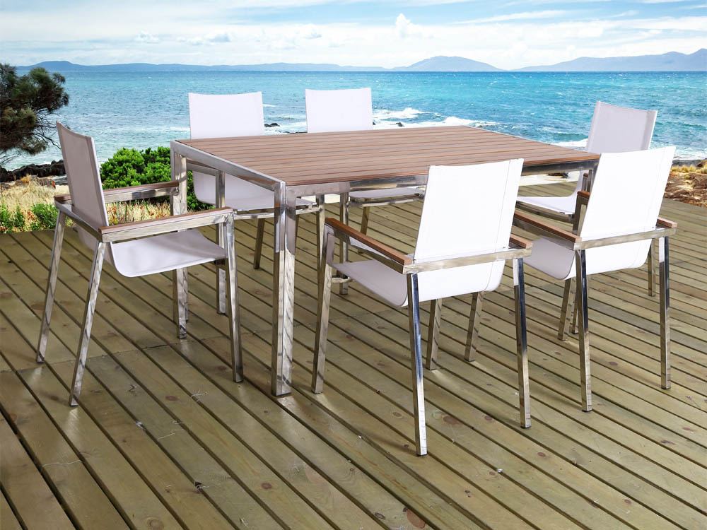 Salon de jardin en inox seychelles phoenix 6 chaises for Salon de jardin metal