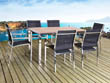 "Salon de jardin en inox Seychelles - ""Phoenix"" - Noir - 6 chaises + une table"