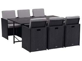 Salon de jardin résine tressée Chicago 6 - 1 table + 6 fauteuils