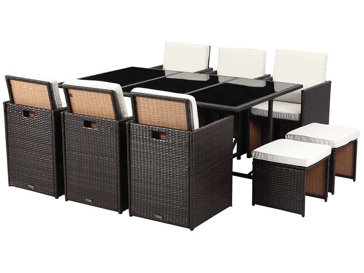 salon de jardin r sine tress e chicago 6 2 poufs buffalo marron 59582 68495. Black Bedroom Furniture Sets. Home Design Ideas