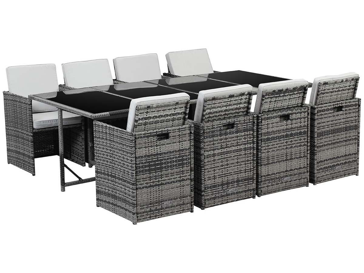 salon de jardin en r sine tress e chicago 8 florida gris 62175. Black Bedroom Furniture Sets. Home Design Ideas