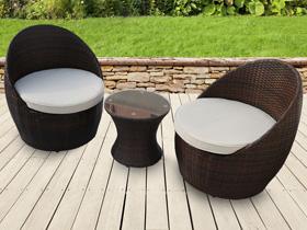 Salon de jardin résine tressée Porto - 1 table basse + 2 fauteuils