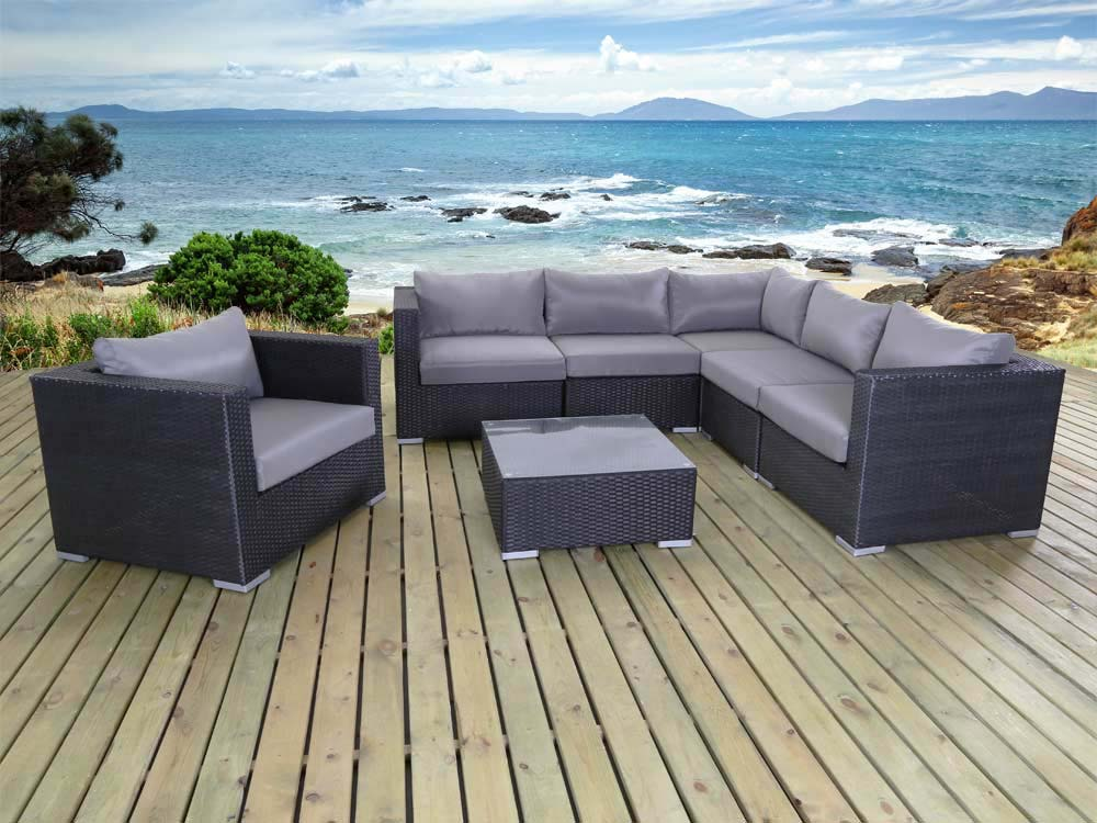 salon de jardin en r sine tress e auckland 1 canap d 39 angle 1 fauteuil 1 table basse 59823. Black Bedroom Furniture Sets. Home Design Ideas