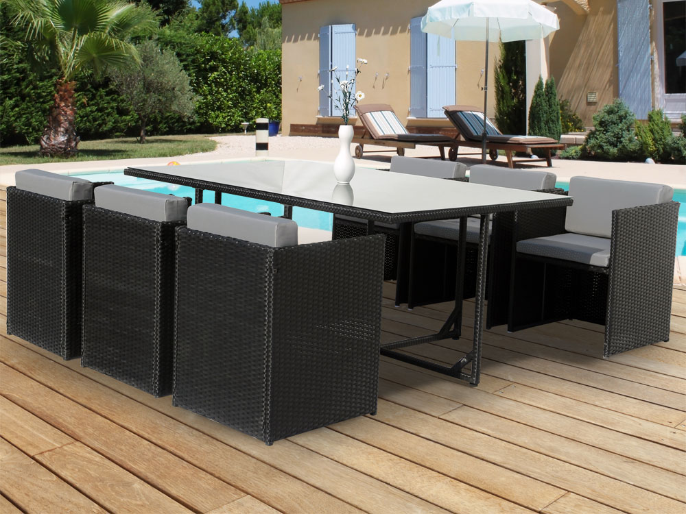Salon de jardin r sine tress e chicago 6 atlanta noir table - Salons de jardin resine tressee ...