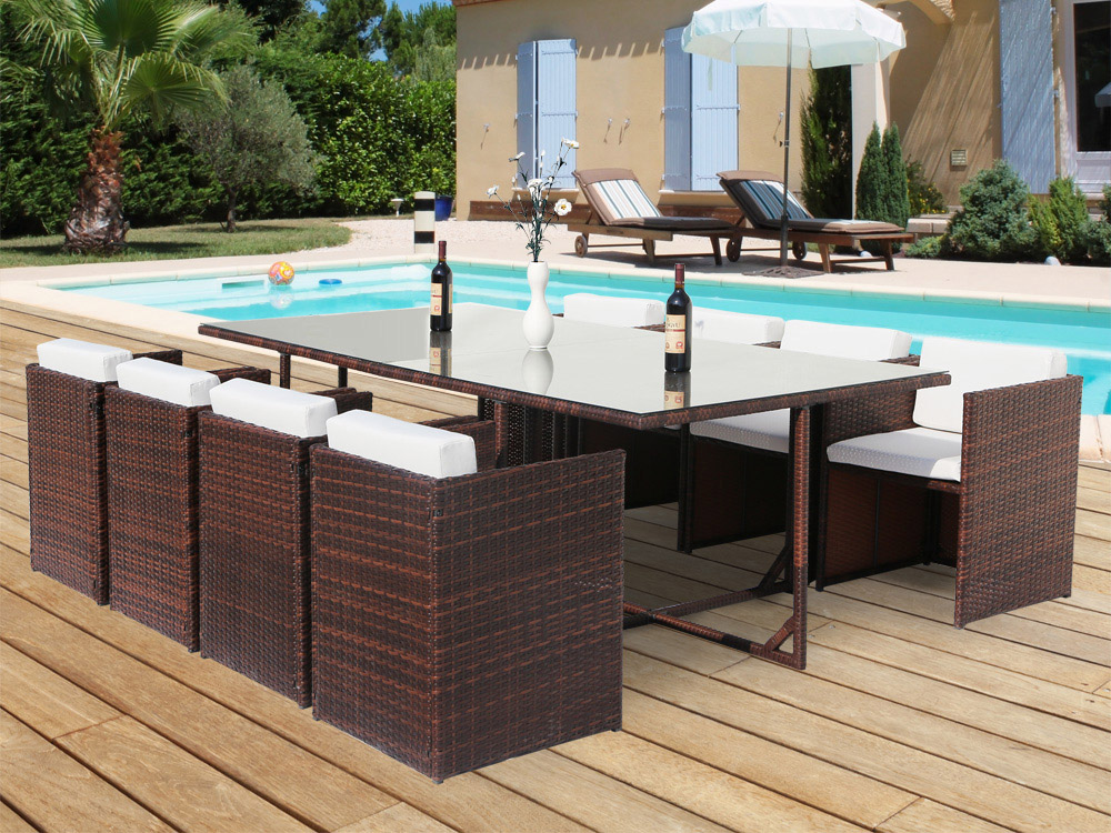 salon de jardin r sine tress e chicago 8 buffalo marron 10 places 62175. Black Bedroom Furniture Sets. Home Design Ideas
