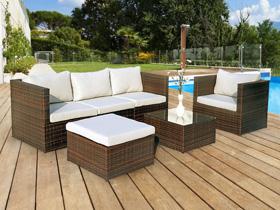 Salon de jardin en résine tressée Ibiza - 1 canapé + 1 fauteuil + 1 table basse