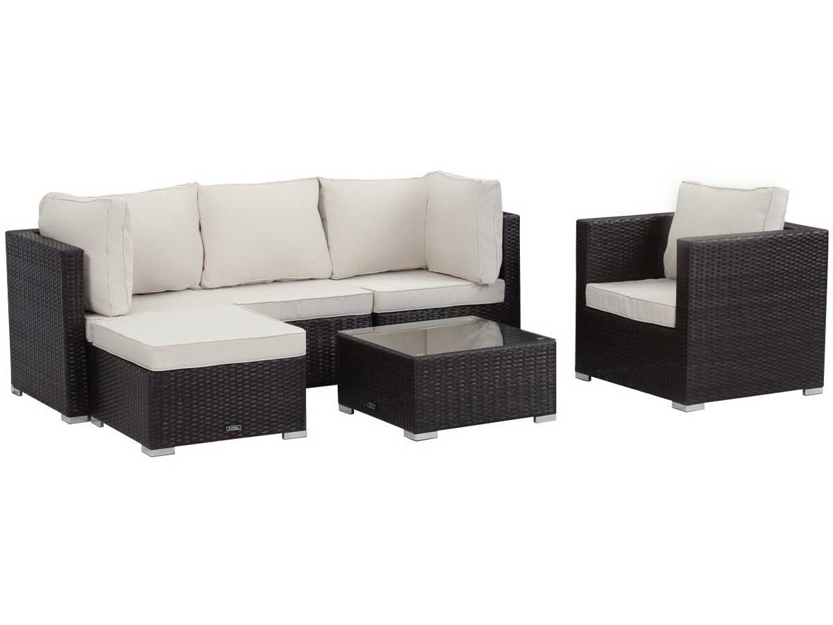 salon de jardin en r sine tress e ibiza buffalo marron 62185 65488. Black Bedroom Furniture Sets. Home Design Ideas