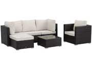 Salon de jardin résine tressée Ibiza -  Atlanta  - Noir - canapé 3 places + 1 fauteuil + 1 table basse + 1 pouf - Coussins imperméables/déhoussables