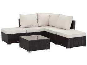 Salon de jardin en résine tressée Lima - canapé d'angle + une table basse