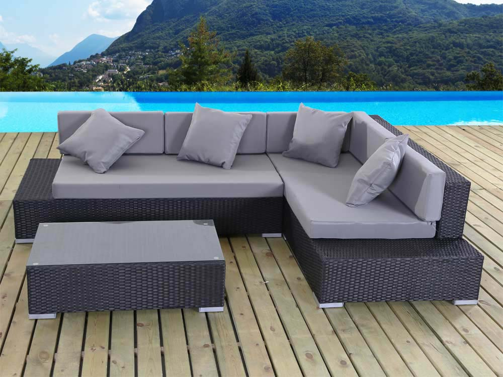 salon de jardin en r sine tress e cadix atlanta noir un canap d 39 angle une table basse. Black Bedroom Furniture Sets. Home Design Ideas