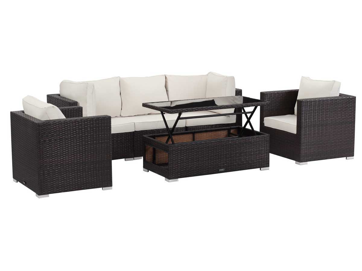 Salon de jardin modulable en r sine tress e panama buffalo table basse relevable marron Table basse de jardin en resine