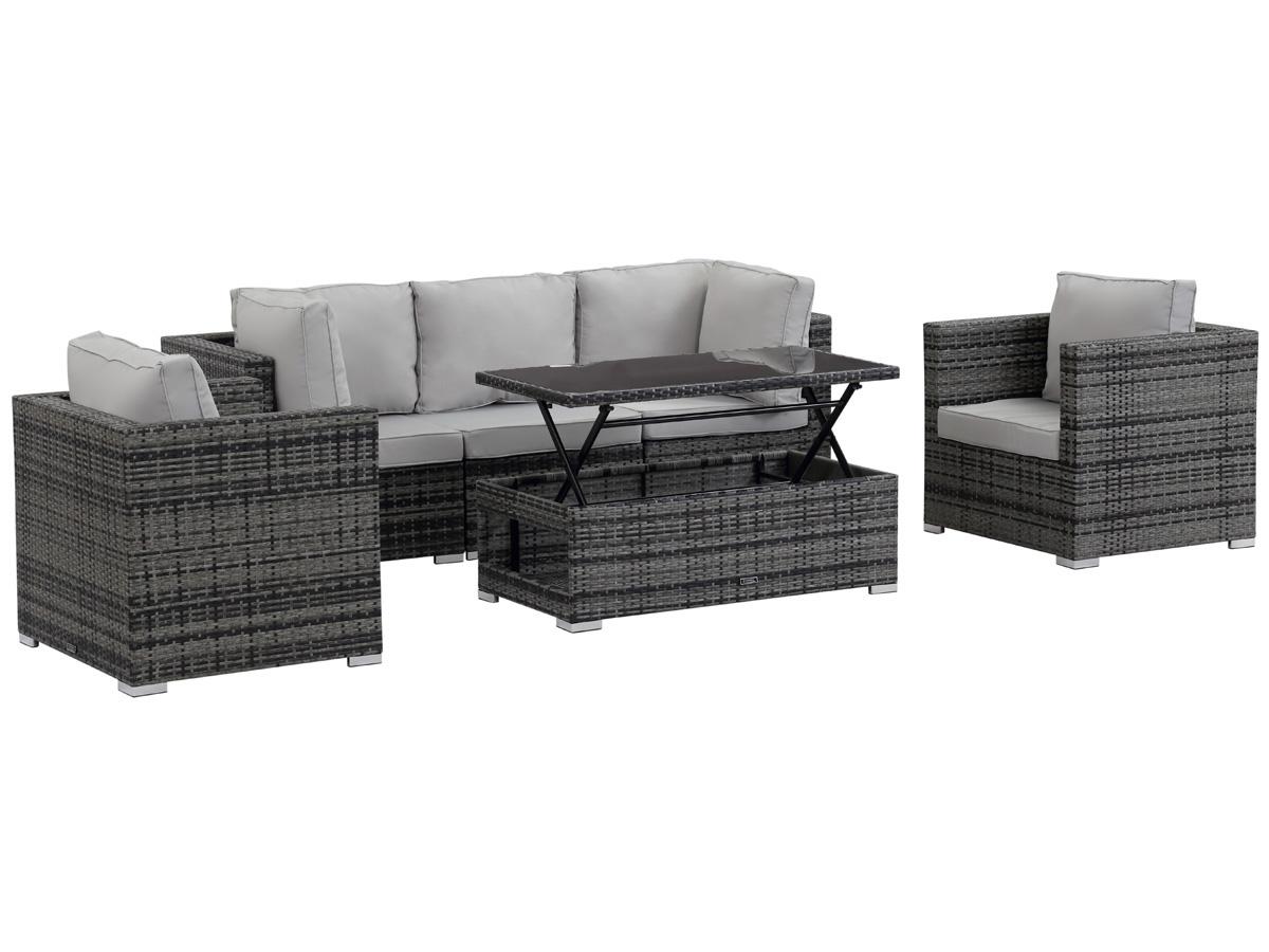 Salon de jardin modulable en r sine tress e panama for Table basse de jardin en resine