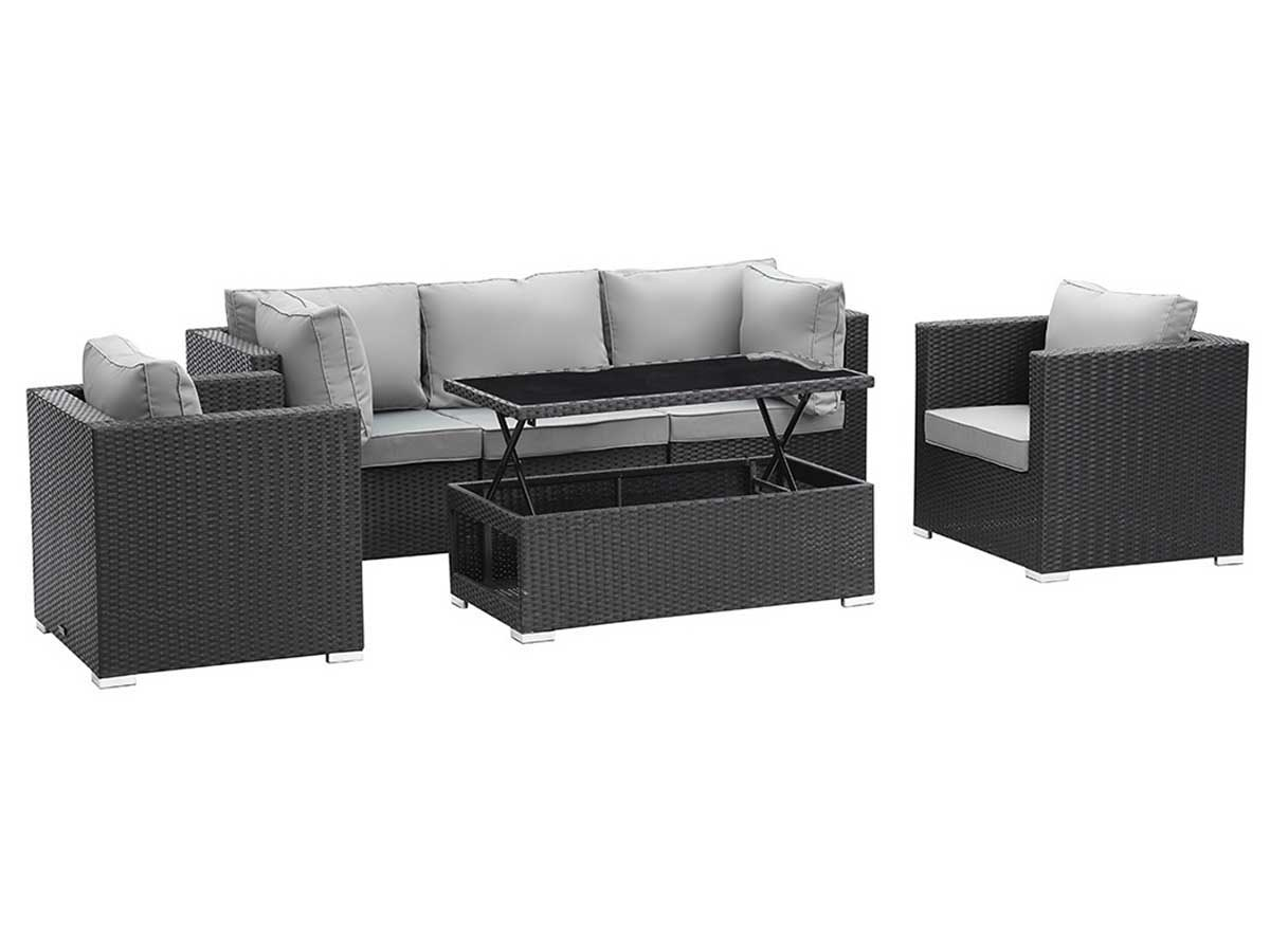 salon de jardin modulable en r sine tress e panama atlanta table basse relevable noir. Black Bedroom Furniture Sets. Home Design Ideas