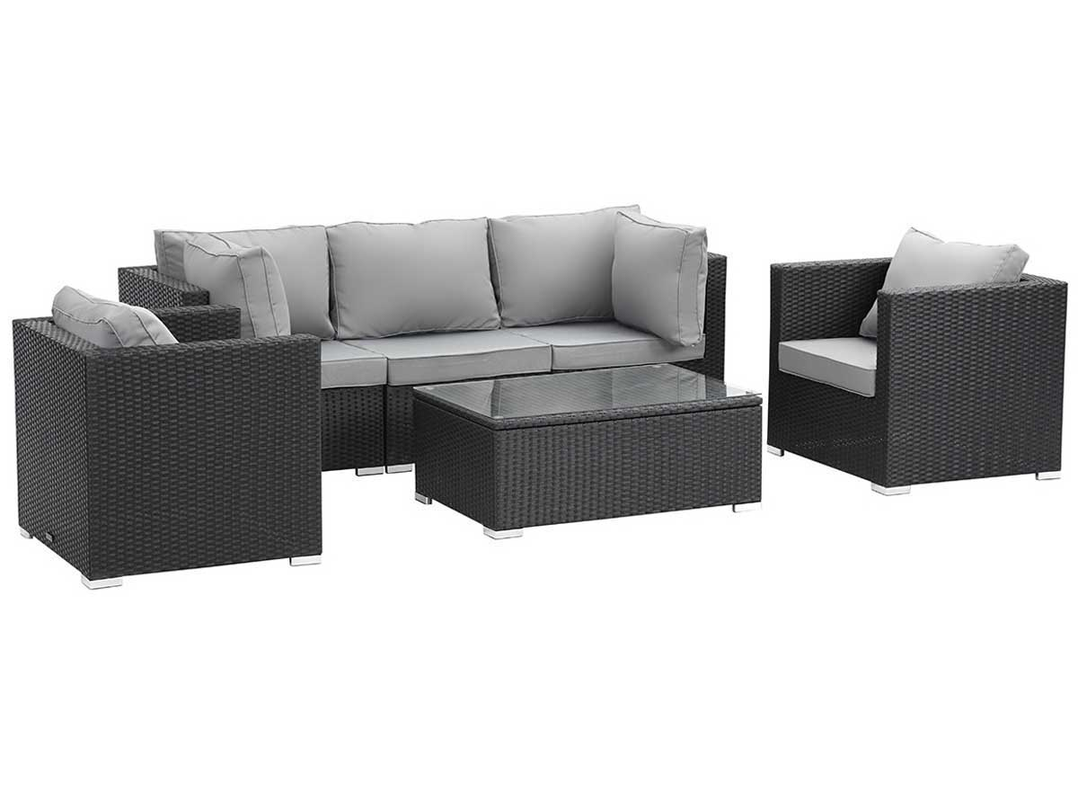 salon de jardin modulable en r sine tress e panama atlanta noir 59816 89193. Black Bedroom Furniture Sets. Home Design Ideas