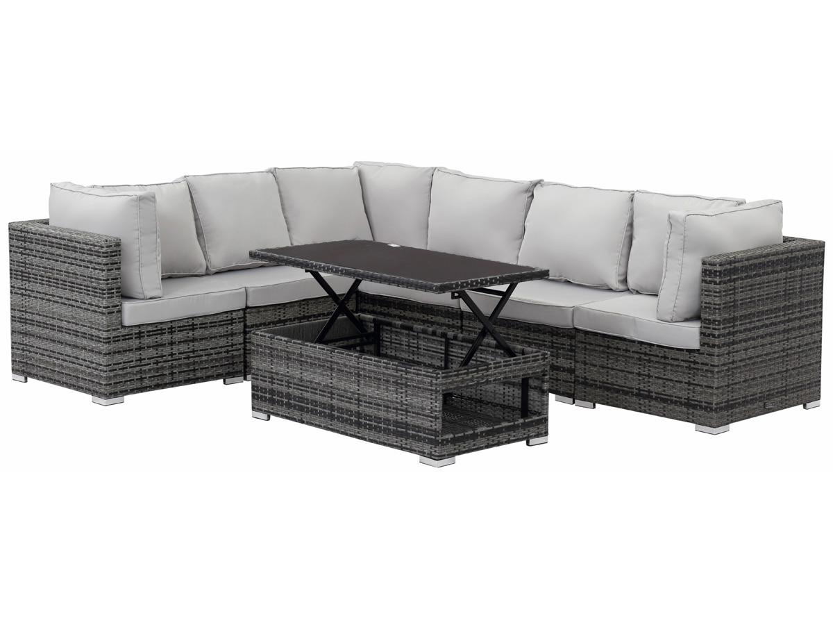 Salon de jardin modulable en r sine tress e auckland luxe florida table basse relevable - Comment nettoyer un salon de jardin en resine ...